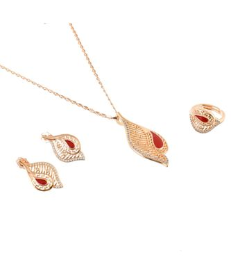 red rose gold cute delicate valentine gift pendant set
