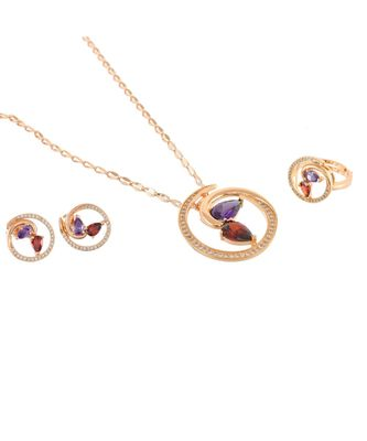 red purple rose gold stylish cute diamond valentine gift pendant combo