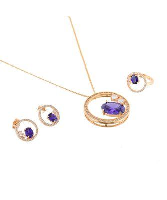 purple rose gold stylish designer diamond valetine gift pendant combo