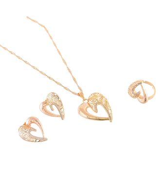 rose gold heart design beautiful valentine gift pendant combo