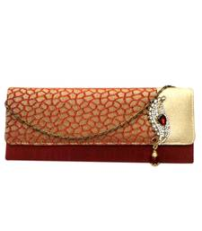 Buy Brocade Box Clutch with Traditional Brooch (Red) clutch online