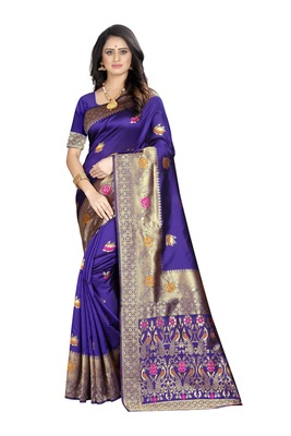 Purple woven jacquard saree with blouse
