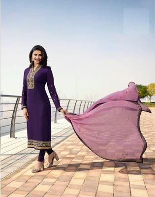 Wedding Blue Silk Embroidered  Indian Semi Straight Salwar Suit