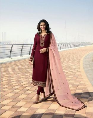 Wedding Maroon Silk Embroidered  Indian Semi Straight Salwar Suit