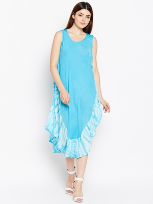 Women Turquoise Blue Color Tye Die Rayon Dress