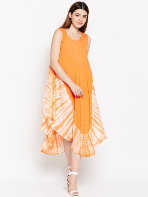 Women Orange and White Color Tye Die Rayon Dress