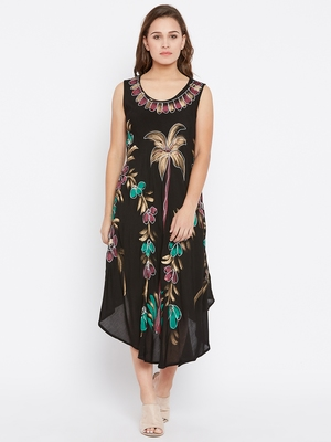 Women Black Color Hand Painted Rayon Dress