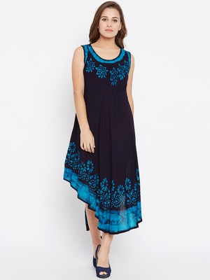 Women blue Color Batik Printed Rayon Dress
