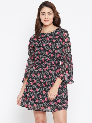Women Black Color Floral Printed Georgette With Cotton lining Knee Length Dress