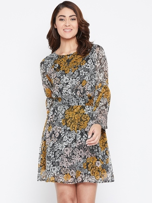 Women Off White and Mustard Color Floral Printed Georgette with cotton lining Knee Length Dress