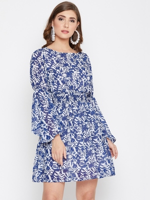 Women Blue Color Printed Georgette Cotton Lining Knee Length Dress
