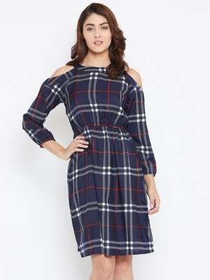 Women blue Color Checked Printed Crepe Knee Length Dress