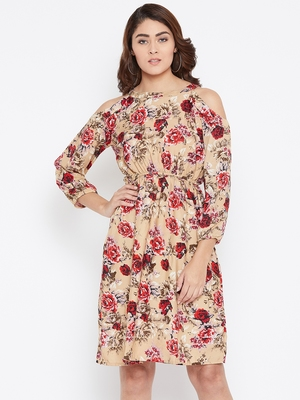 Women Cream and Multicolor Floral Printed Crepe Knee Length Dress