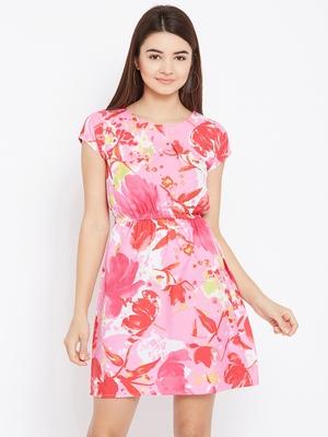 Women Pink Color Printed Above Knee Length Crepe Dress