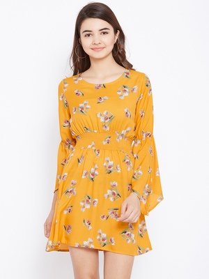 Women Mustard and Multicolor and Floral Printed Crepe Knee Length Dress