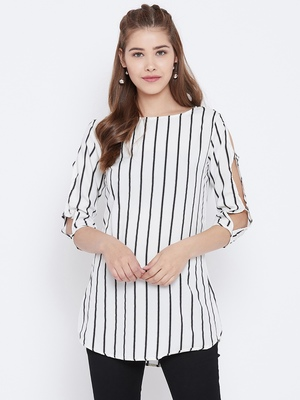 Women White Color Stripe Printed crepe Tunic