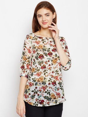 Women Beige and Multicolor Floral Printed georgette Top