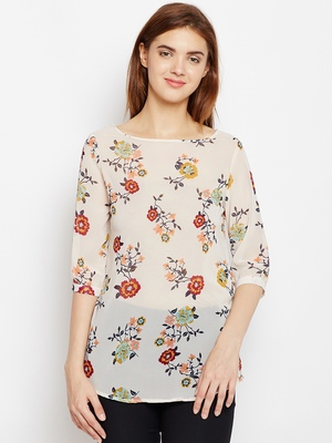 Women Off White Color Floral Printed georgette Top