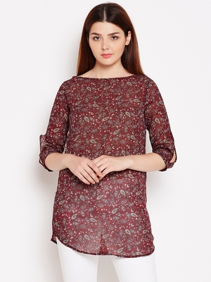 Women Maroon Color Paisley Printed georgette Tunic