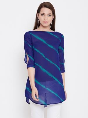 Women Blue Color georgette Tunic