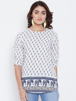 Women White and Multicolor Printed crepe Top