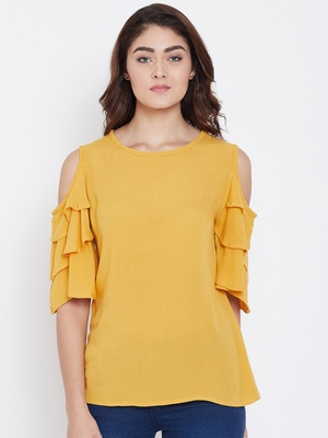 Women Mustard Color Cold With bell Sleeve Rayon Top