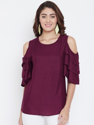 Women Maroon Color Cold With bell Sleeve Rayon Top