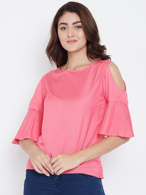 Women Pink Color Cold With bell Sleeve Rayon Top