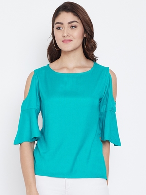 Women Turquoise Color Cold With bell Sleeve Rayon Top