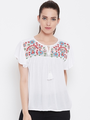 Women White Color Embroidered Rayon Tie up neck Top