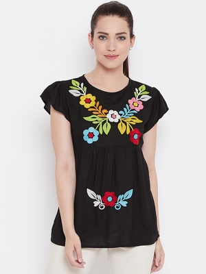 Womwn Black Color Floral Embroidered Rayon Top