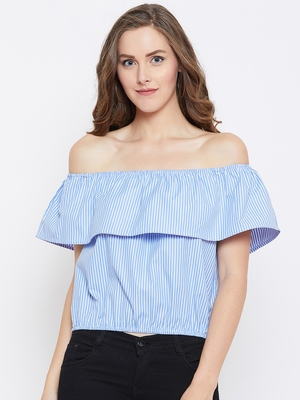 Women Blue Color Stripe Printed off Shoulder Neck Cotton Top