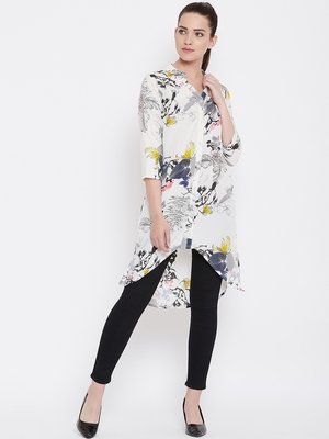 Women White and Multicolor Floral Printed High low Tunic