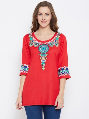 Women Red Color Embroidered Rayon Tunic