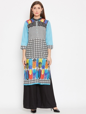 Women Turquoise Blue Color Printed Cotton Kurti