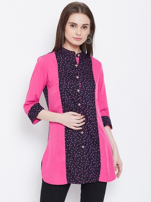 Women Navy Blue and Pink Printed crepe Tunic