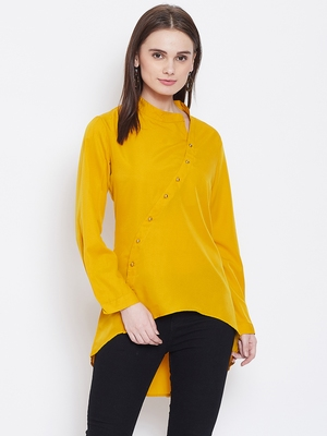 Women Mustard Color Plain crepe High Low Tunic