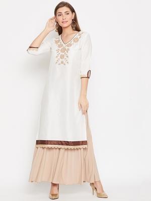 Women White Color Embroidered Cotton Kurti