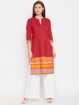 Women Red and Multicolor Printed Cotton Kurti