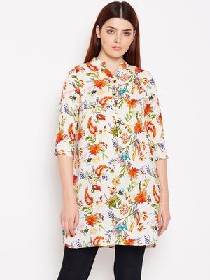 Women Cream and Multicolor Floral Printed crepe Tunic