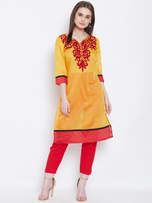 Women Mustard and Maroon Color Embroidered Cotton Kurti