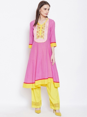 Women Pink and Yellow Color Embroidered Cotton Kurti