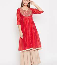 Women Red Color Embroidered A line Georgette A line Kurti