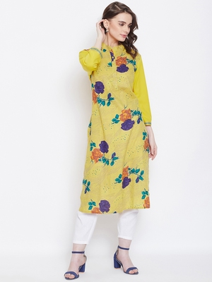 Women Yellow Color Floral Printed Cotton Kurti