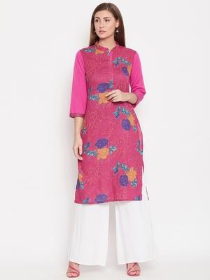 Women Pink And Multicolor Floral Printed Crepe Kurti
