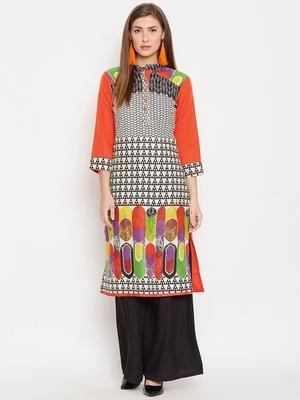 Women Orange Color Printed Cotton Kurti