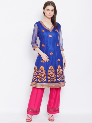 Women Blue Color Embroidered Net Kurti