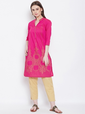 Women Pink Color Printed Cotton Kurti