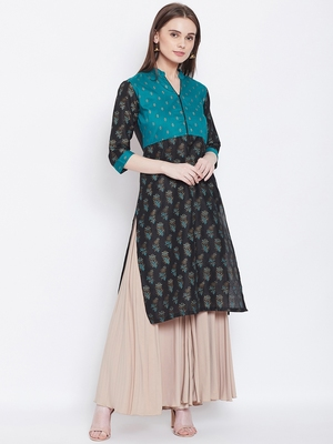 Women Teal and Black Color Floral Printed Cotton Kurti