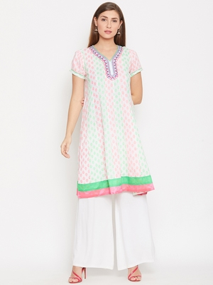 Women White Color Cotton Embroidered and Printed Kurti